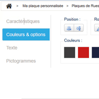 Couleurs et options