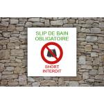 Camping - Piscine - Panneau Interdiction maillot de bain