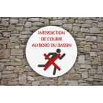 Camping - Piscine - Panneau Interdiction de courir